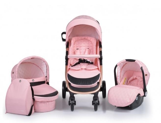 Cangaroo Dětský kočárek 3v1, Noble 2021 - růžový