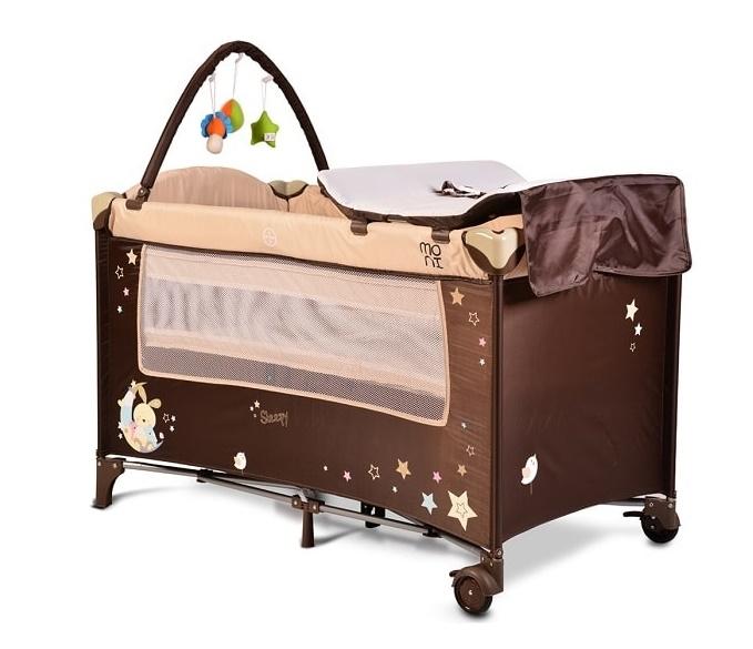 Moni Dětská cestovní ohrádka Sleepy s kolečky - béžová
