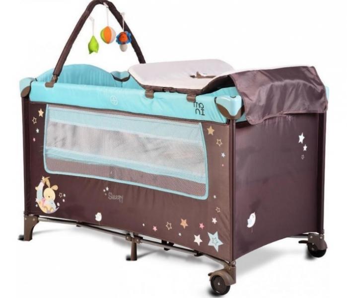 Moni Dětská cestovní ohrádka Sleepy s kolečky - modrá