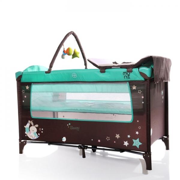 Moni Dětská cestovní ohrádka Sleepy s kolečky - tyrkysová