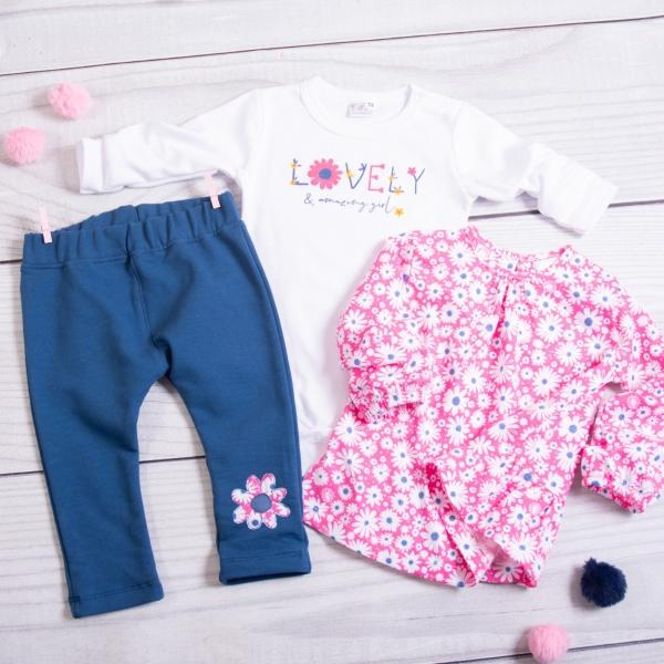 K-Baby 3-dílná sada, 1x body dl. rukáv, tunika, legíny - Lovely girl, růžová, bílá, granát
