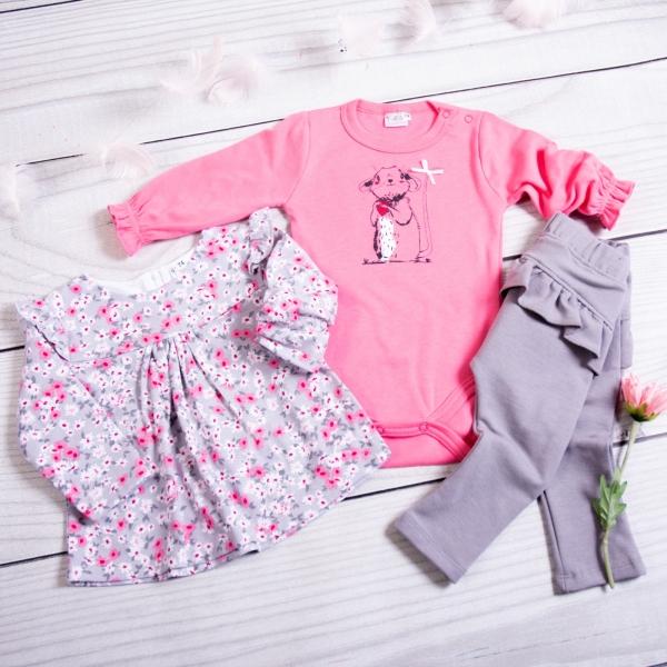 K-Baby 3-dílná sada, 1x body dl. rukáv, tunika, legíny - Myška, růžová, šedá, vel. 74