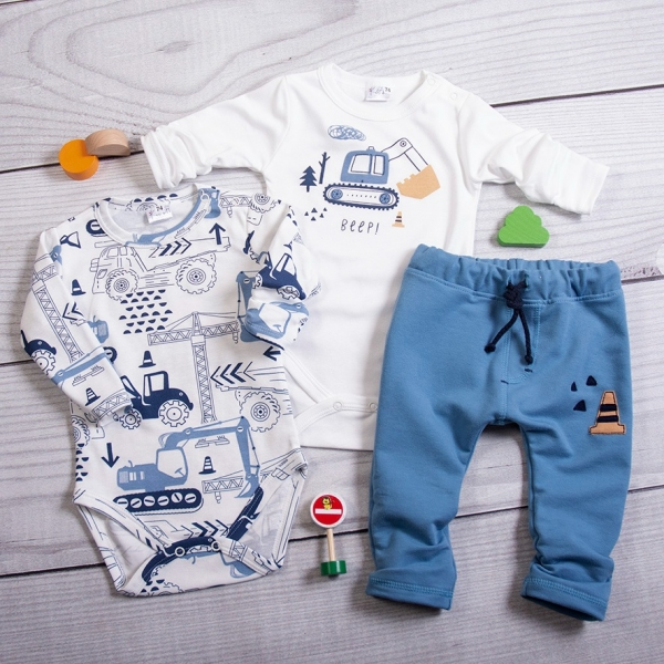K-Baby 3-dílná sada, 2x body dlouhý rukáv, tepláčky - Stroje, bílá, modrá, vel. 74