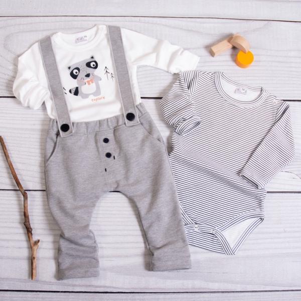 K-Baby 3-dílná sada, 2x body dlouhý rukáv, tepláčky s kšíry - Mýval, bílá, šedá