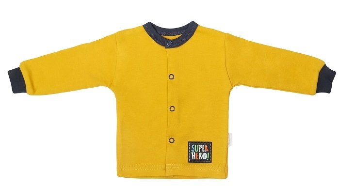 Mamatti Novorozenecká bavlněná košilka, kabátek, Hero - hořčicová