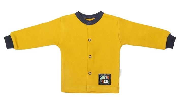 Mamatti Novorozenecká bavlněná košilka, kabátek, Hero - hořčicová, vel. 68