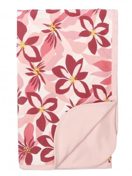 Mamatti Dětská oboustranná bavlněná deka, 80 x 90 cm, Magnólie, růžová