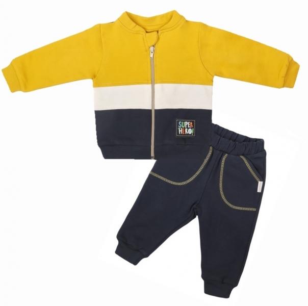 Mamatti Dětská tepláková souprava zapínání na zip Hero, hořčicová/granát, vel. 80, Velikost: 80 (9-12m)