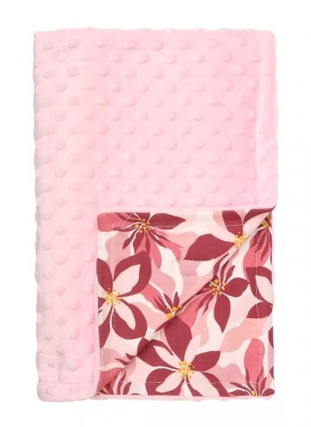 Mamatti Dětská oboustranná bavlněná deka s minky 75 x 90 cm, Magnólie - růžová