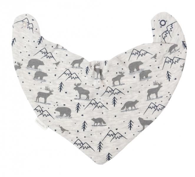 Mamatti Dětský šátek na krk Hory - šedý s potiskem