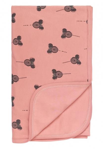 Mamatti Dětská oboustranná bavlněná deka, 80 x 90 cm, New minnie, pudrová