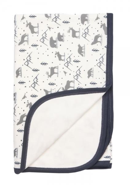 Mamatti Dětská oboustranná bavlněná deka, 80 x 90 cm, Hory, bílá s potiskem