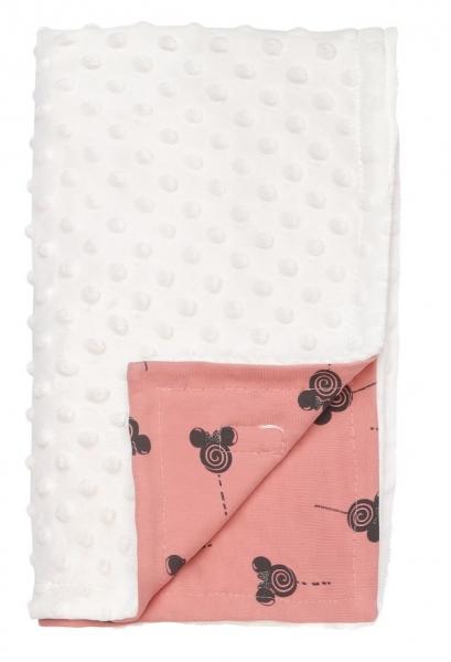 Mamatti Dětská oboustranná bavlněná deka s minky 75 x 90 cm, New minnie, pudrová