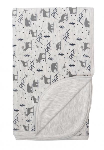 Mamatti Dětská oboustranná bavlněná deka, 80 x 90 cm, Hory, šedá s potiskem