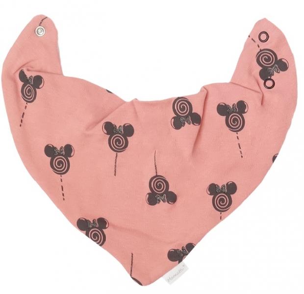 Mamatti Dětský šátek na krk New Minnie, pudrový s potiskem