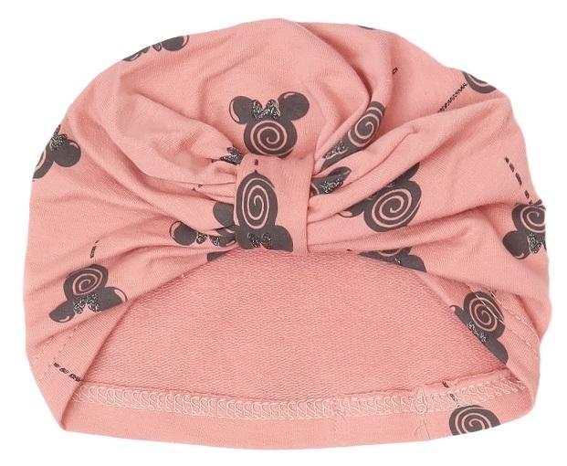 Mamatti Bavlněná  dětská čepice, turban, New Minnie - pudrová s potiskem