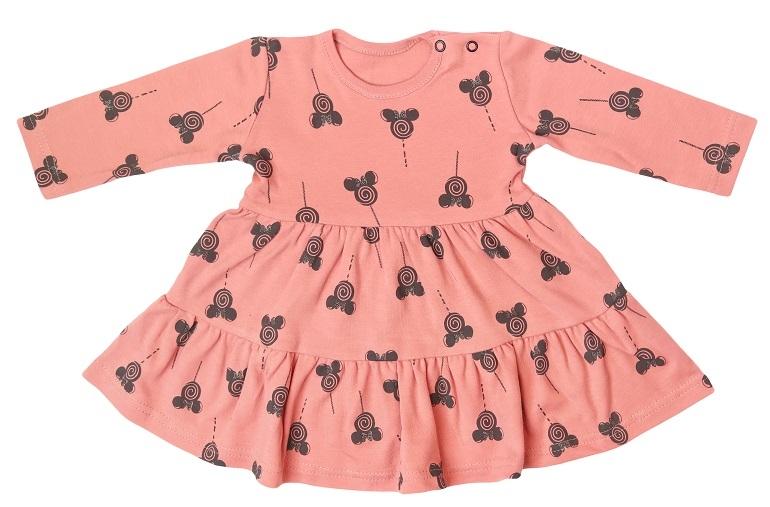 Mamatti Kojenecké šaty s volánky, dl. rukáv, New Minnie, pudrové s potiskem