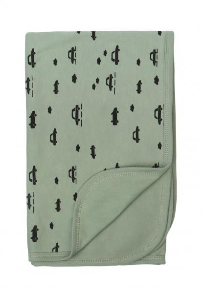 Mamatti Dětská oboustranná bavlněná deka, 80 x 90 cm, Auta, olivová