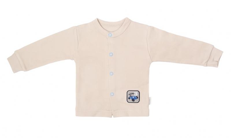 Mamatti Novorozenecká bavlněná košilka, kabátek, Čísla - béžová, Velikost: 50 (0-1m)