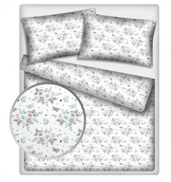 Baby Nellys 2-dílné bavlněné povlečení - Růžičky, bílé