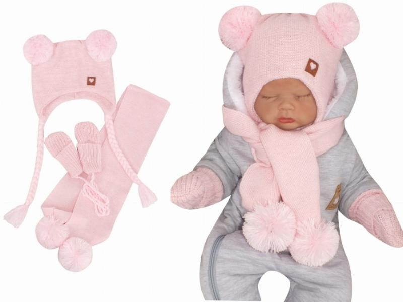 Z&Z Pletená čepice s bambulemi, šálou a rukavičky 3v1, růžová