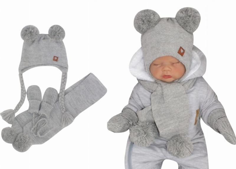 Z&Z Pletená čepice s bambulemi, šálou a rukavičky 3v1, šedá