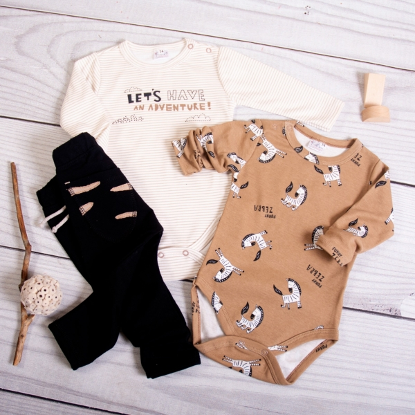K-Baby 3-dílná sada, 2x body dlouhý rukáv, tepláčky - Zebra, hnědá/černá