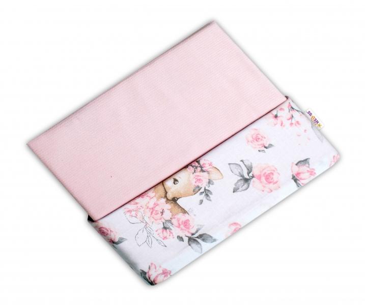 Baby Nellys Oboustranná deka Bavlna + Velvet 100x75cm, Srnka a růže - růžová