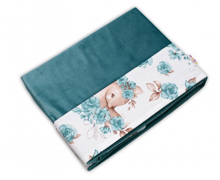 Baby Nellys Oboustranná deka Bavlna + Velvet 100x75cm, Srnka a růže - mátová