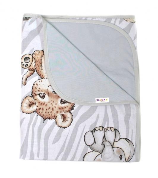 Baby Nellys Oboustranná letní deka Bavlna + jersey 100x75cm, ZOO Natural - šedá