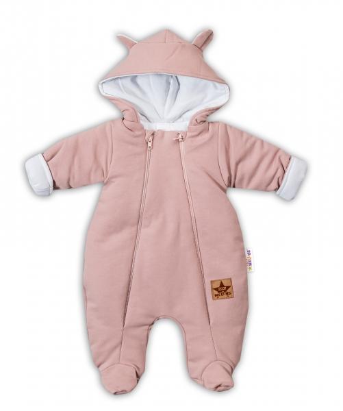 Baby Nellys Kombinézka s dvojitým zapínáním, s kapucí a oušky TEDDY - pudrová