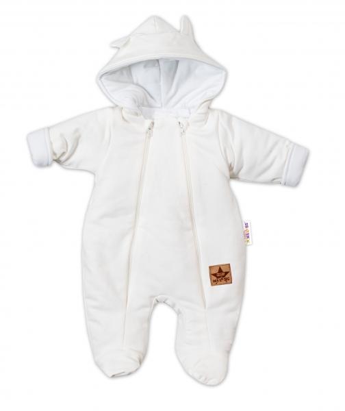 Baby Nellys Kombinézka s dvojitým zapínáním, s kapucí a oušky TEDDY - ecru