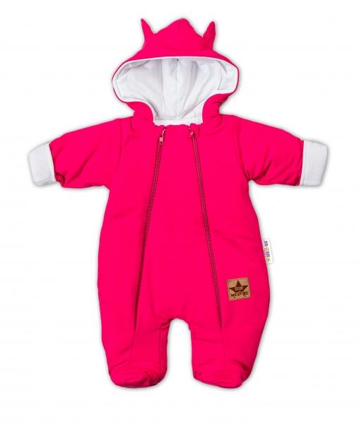 Baby Nellys Kombinézka s dvojitým zapínáním, s kapucí a oušky TEDDY - malinová