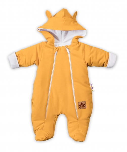 Baby Nellys Kombinézka s dvojitým zapínáním, s kapucí a oušky TEDDY - hořčicová