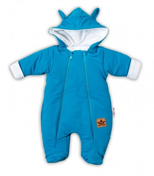 Baby Nellys Kombinézka s dvojitým zapínáním, s kapucí a oušky TEDDY - tyrkysová