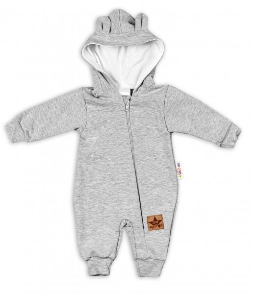 Baby Nellys Teplákový overal s kapucí Teddy - šedý, vel. 74