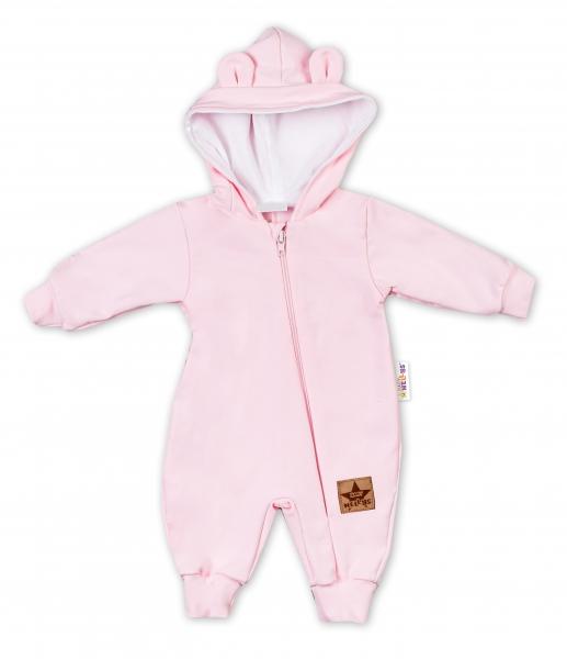 Baby Nellys Teplákový overal s kapucí Teddy - sv. růžová, vel. 68, Velikost: 68 (3-6m)