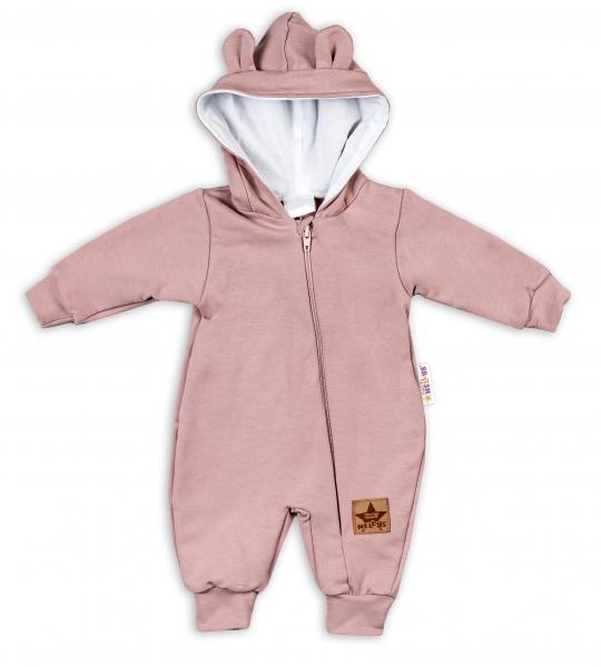 Baby Nellys Teplákový overal s kapucí Teddy - pudrová