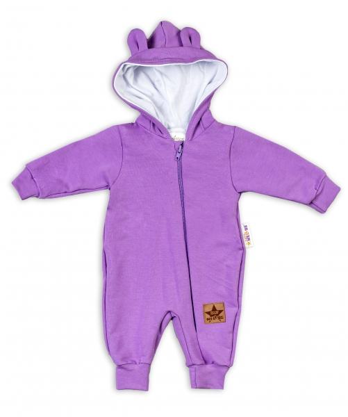 Baby Nellys Teplákový overal s kapucí Teddy - fialový, vel. 68, Velikost: 68 (3-6m)