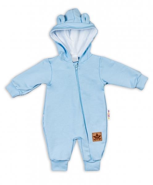 Baby Nellys Teplákový overal s kapucí Teddy - sv. modrý