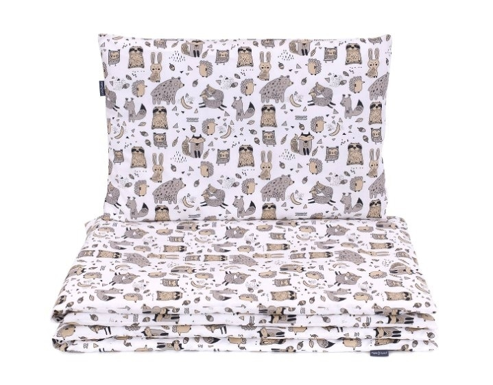 Mamo Tato 2-dílné bavlněné povlečení, Lesní zvířátka - bílé