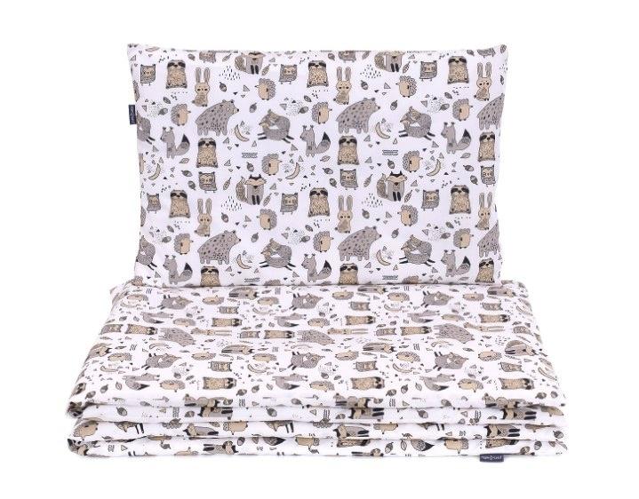 Mamo Tato 2-dílné bavlněné povlečení, Lesní zvířátka - bílé, 135x100 cm