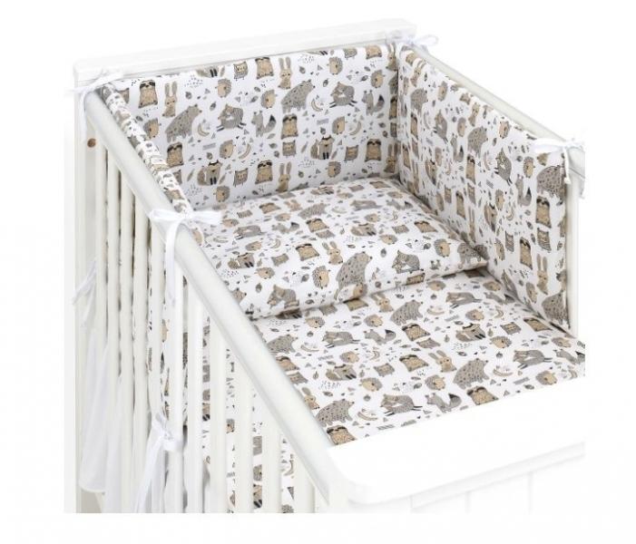 Mamo Tato 3-dílný set do postýlky s mantinelem - Lesní zvířátka, bílé, 135x100 cm