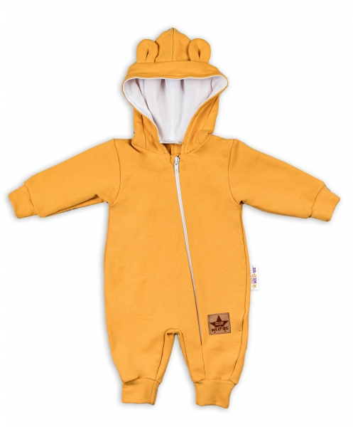Baby Nellys Teplákový overal s kapucí Teddy - hořčicový