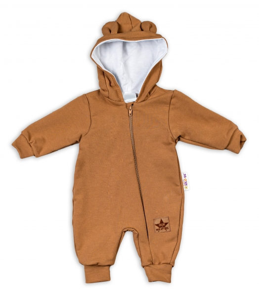 Baby Nellys Teplákový overal s kapucí Teddy - karamelový, Velikost: 56 (1-2m)