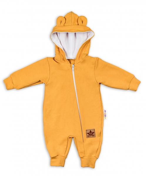 Baby Nellys Teplákový overal s kapucí Teddy - hořčicový, vel. 74, Velikost: 74 (6-9m)