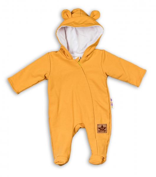 Baby Nellys Kojenecký teplákový overal s kapucí Teddy - hořčicový