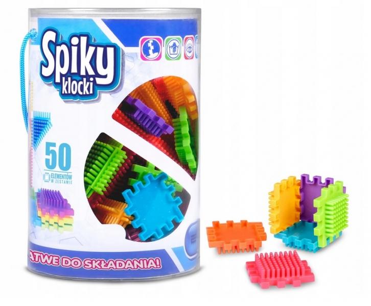 Plastové kostičky Spiky v kbelíku, 50 dílků