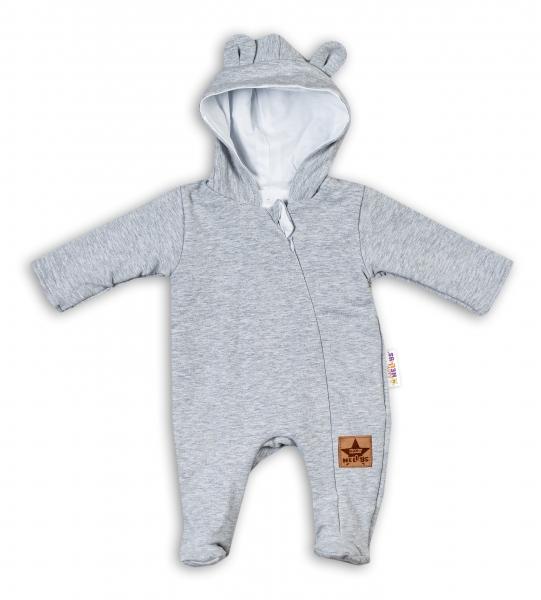 Baby Nellys Kojenecký teplákový overal s kapucí Teddy - šedý, vel. 74