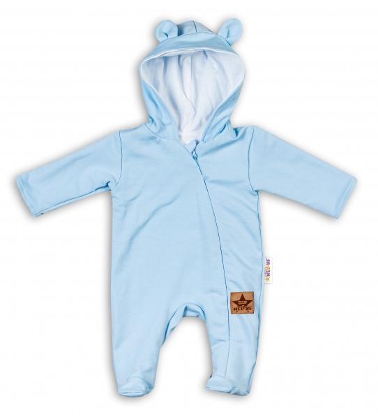 Baby Nellys Kojenecký teplákový overal s kapucí Teddy - sv. modrý, vel. 86